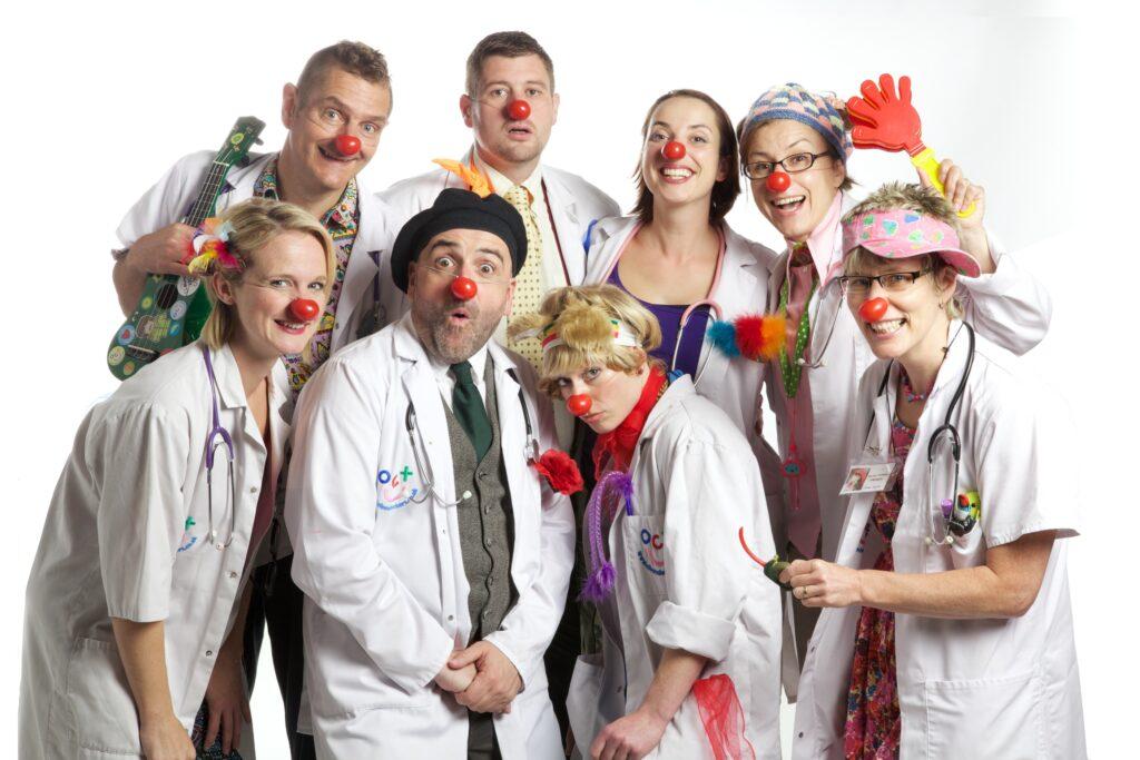 People dressed as clown doctors